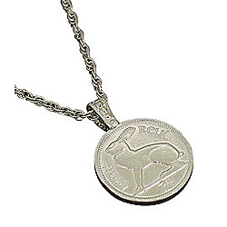 Silver-tone Irish Three-Pence Lucky Rabbit Coin Pendant w/ Chain