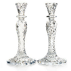 Customer Choice under $100 at Evine - 431-322 Waterford Crystal Sea Jewel 10-inch Candlestick Pair - 431-322