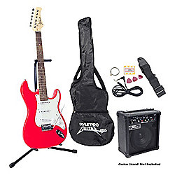 Pyle Beginner Red Electric Guitar Package w/ Amplifier, Gig Bag and Strap