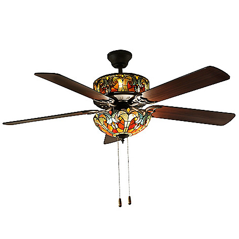 stained glass ceiling fan Tiffany Style 52