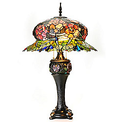 "Tiffany-Style 32"" Midnight Rose Double Lit Stained Glass Table Lamp"
