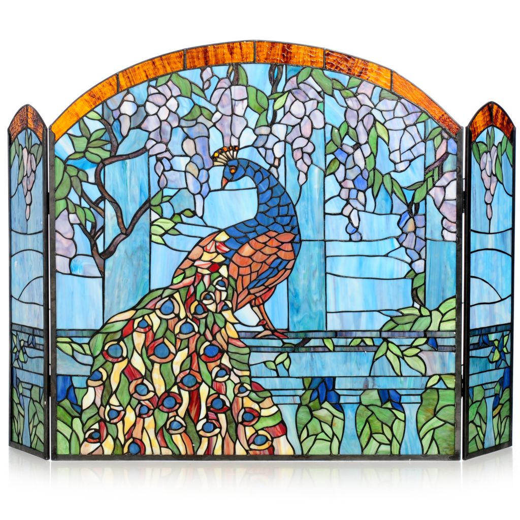Tiffany Style 27 Wisteria Peacock Stained Glass Fireplace Screen