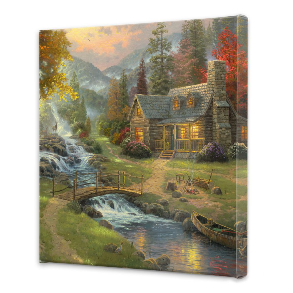 Thomas Kinkade Mountain Retreat Collection 20 X 20 Gallery Wrap On Sale At Evine Com