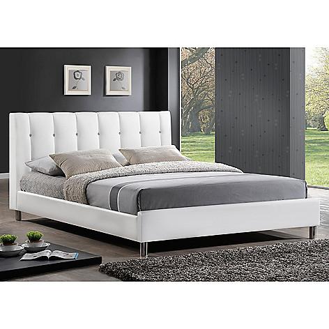 440 698 Baxton Studio Vino Modern Bed W Upholstered Headboard