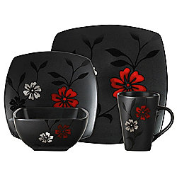 Gibson 16-Piece Evening Blossom Ceramic Dinnerware Set