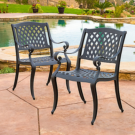 Christopher Knight Patio Furniture.Christopher Knight Home Set Of Two Hallandale Cast Aluminum Black Outdoor Dining Chairs
