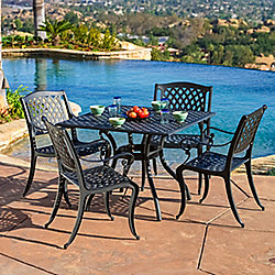 Christopher Knight Home Five-Piece Hallandale Black Cast Aluminum Outdoor Dining Set - 444-820