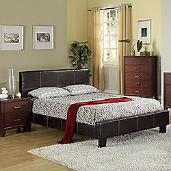 Furniture of America Aura Dark Espresso Leatherette Upholstery Bed