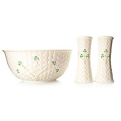 Belleek Shamrock Three-Piece Porcelain Bowl, Salt & Pepper Shaker Set
