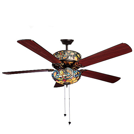 Tiffany style 52 corrista double lit stained glass ceiling fan evine aloadofball Images