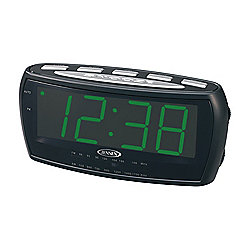 Jensen AM / FM LED Alarm Clock Radio w/ Audio Input Jack
