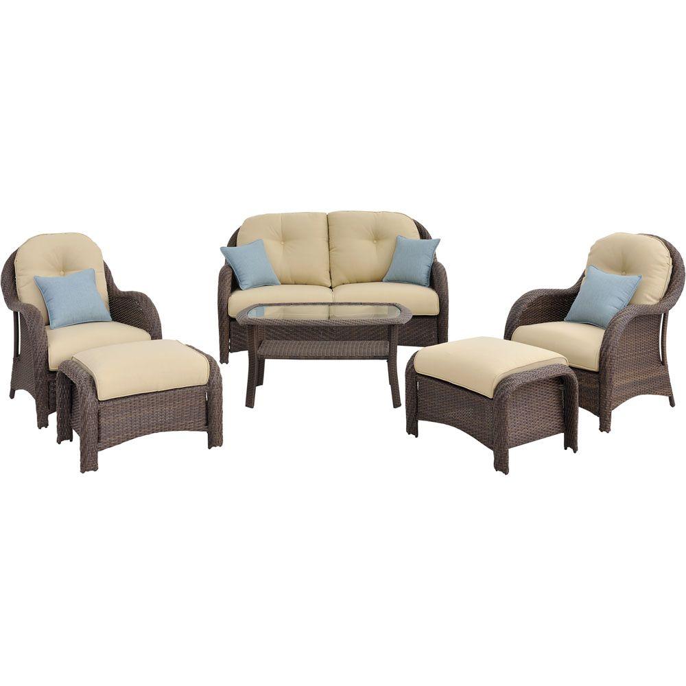 hanover outdoor furniture newport 6 piece deep seating wicker patio rh evine com  newport outdoor furniture