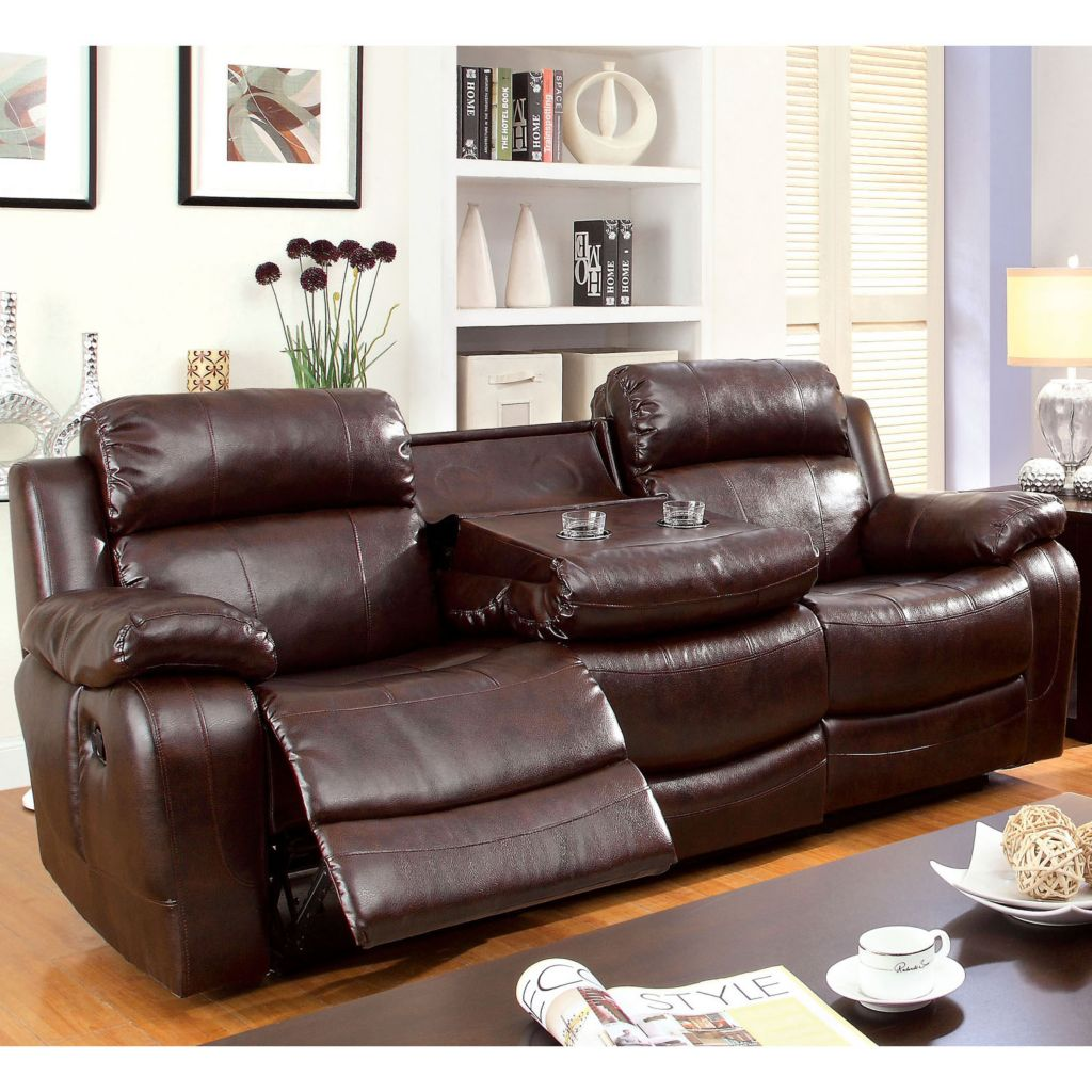 Furniture Of America Vickers Faux Leather Sofa