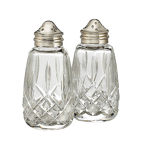 Waterford Crystal Lismore Salt Pepper Shakers W Stainless Steel