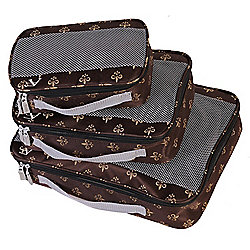 "American Flyer ""Fleur-de-lis"" 3-Piece Zip Around Travel Bag Set"
