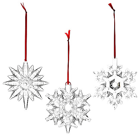 42701f51d 461-793- Waterford Set of 3 Fine Crystal Snowflake Ornaments