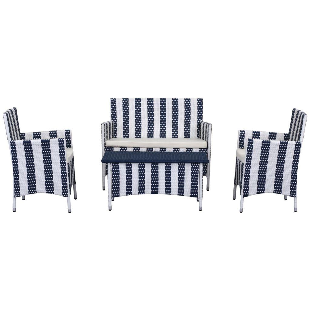 462 323  Safavieh 4 Piece Hampton Bay Wicker Striped Patio Set