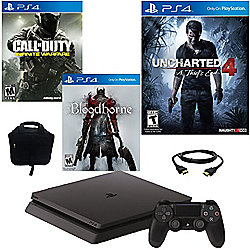 PlayStation 4 Slim 500GB Console w/ Uncharted 4 Game, Bloodborne Game, COD Infinite Warfare Game
