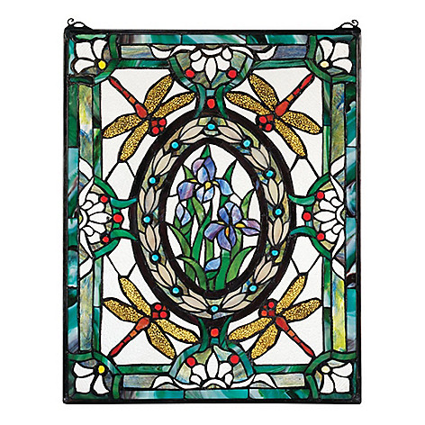 465 314 25 Dragonfly Fl Stained Gl Hanging Panel