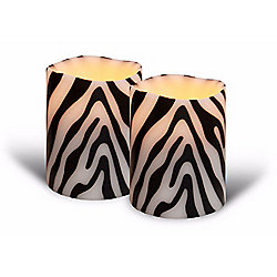 Bellezzina Zebra Inlay Collection Set of (2) 4 Handmade Flameless LED Wax Candles - 465-813