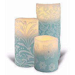 Bellezzina Designer Series Venetian Set of 3 Handmade Flameless LED Wax Candles - 465-823