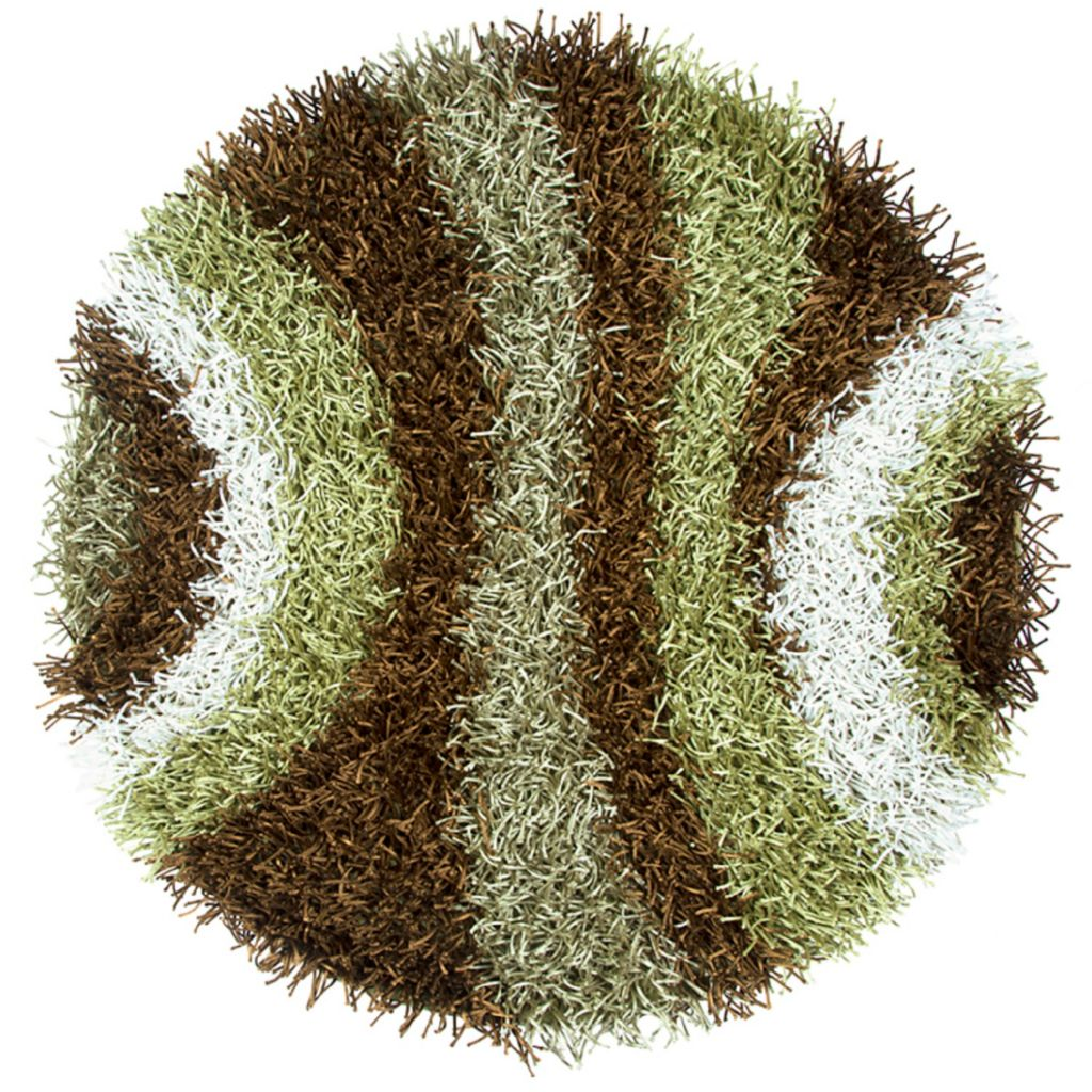 Hand-Tufted Green Striped Rug