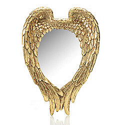 "Dann Foley Decor 22.25"" Gold-tone Resin Wing Mirror"