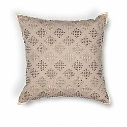 "Donny Osmond Home 18"" Taupe Diamond Motif Handmade Decorative Pillow"