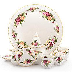 467-821 Royal Albert Old Country Roses Le Petite 9-Piece Miniature Porcelain Tea Set - 467-821
