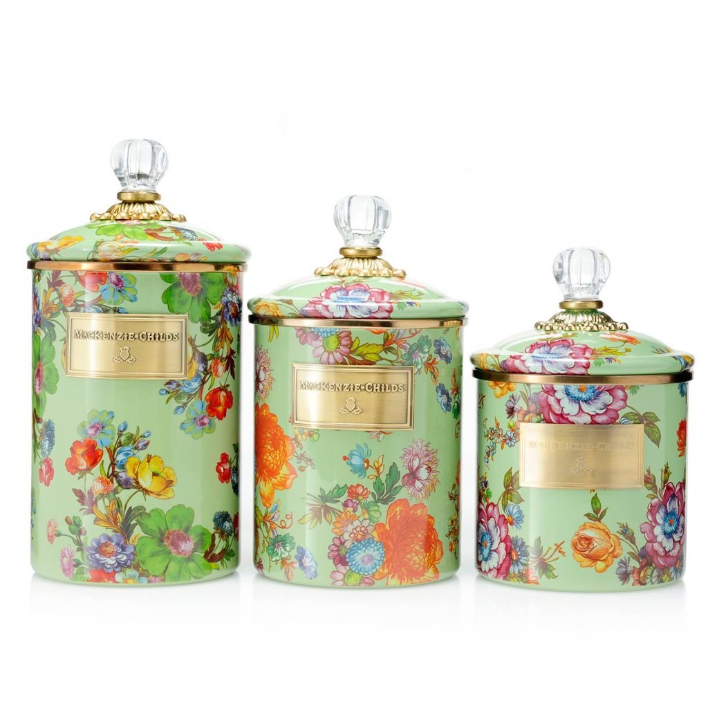 467 969  MacKenzie Childs Set Of 3 Hand Decorated Enamelware Covered  Canisters