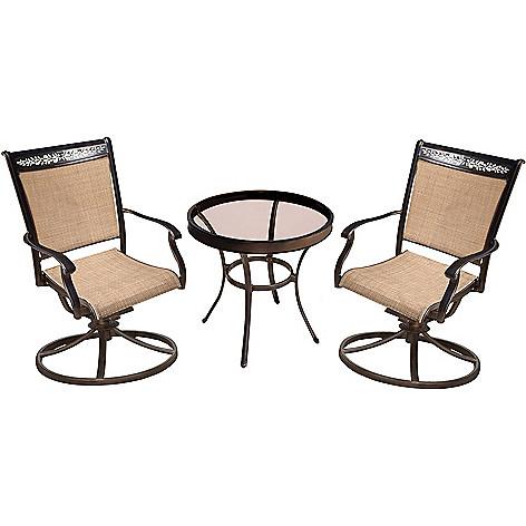 468 632 Hanover Outdoor Furniture Fontana 3 Piece Tan Swivel Rockers Glass