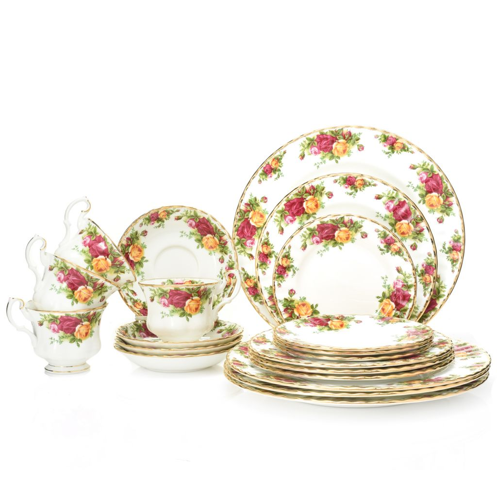 469-386- Royal Albert Old Country Roses 20-Piece 22K Gold Accented Bone  sc 1 st  Evine : royal dinnerware - pezcame.com