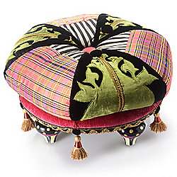 Home Furniture 470-157 MacKenzie-Childs 19.5 Handmade Multi-Color Portobello Road Footstool - 470-157