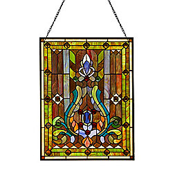 "Tiffany-Style 24.75"" Fleur-de-Lis Stained Glass Window Panel w/ 30"" Hanging Chain"