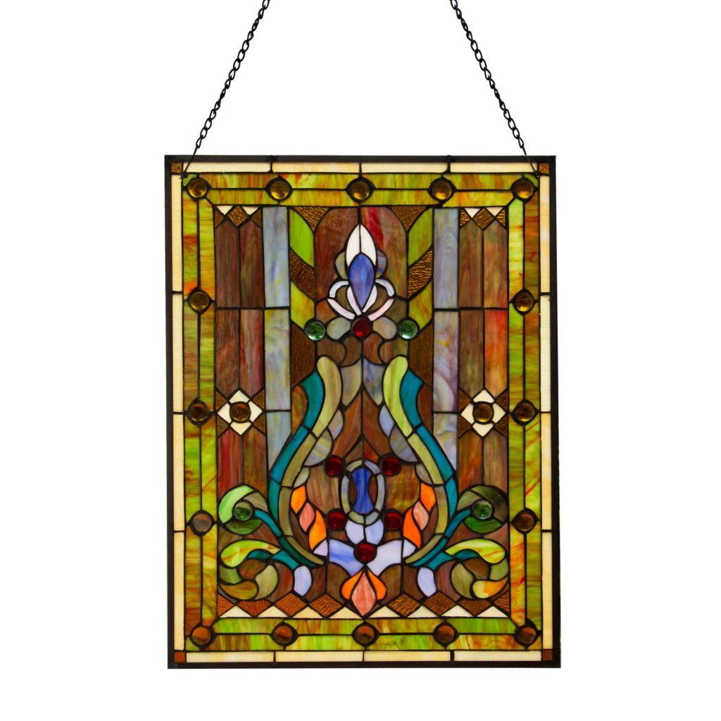 Tiffany Style 24 75 Fleur De Lis Stained Gl Window Panel W 30 Hanging Chain