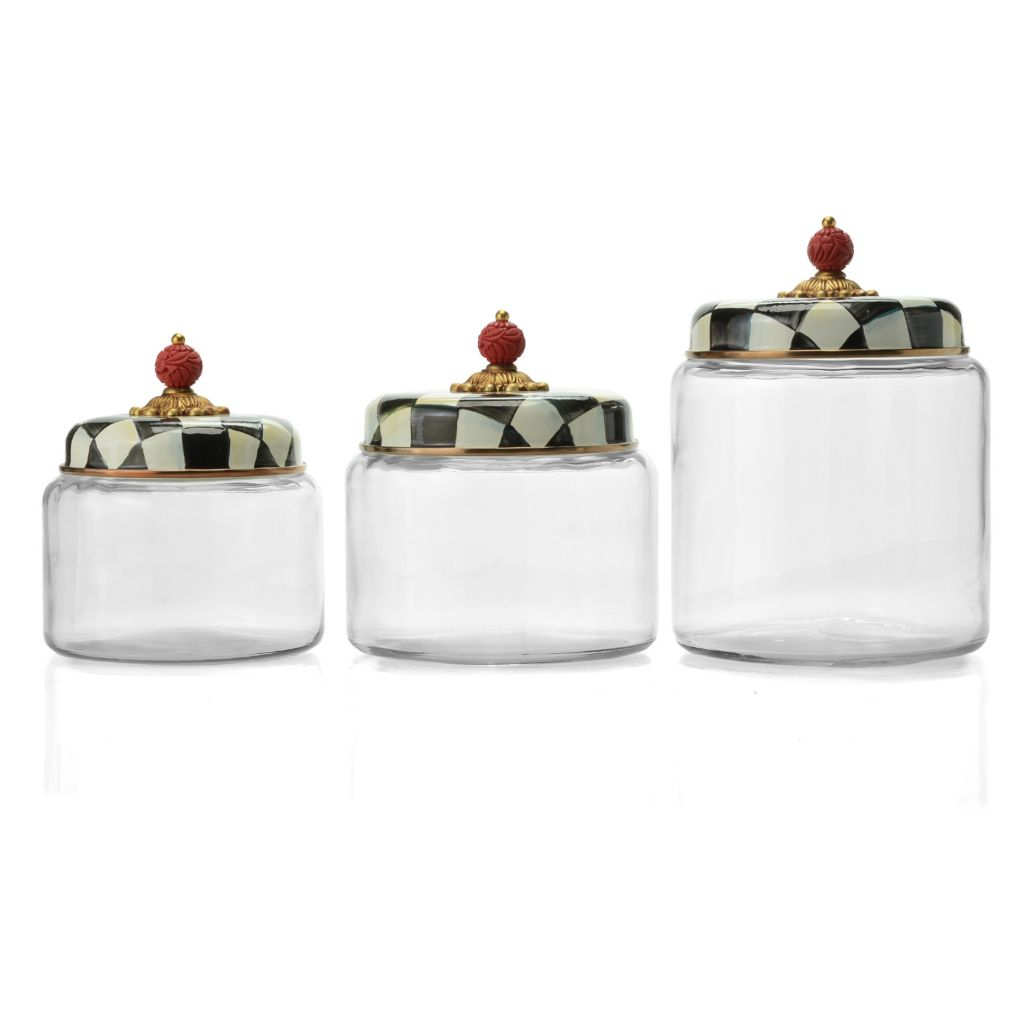 470 220  MacKenzie Childs Set Of 3 Hand Decorated Glass U0026 Enamelware