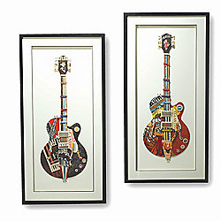 Passport Collection 2-Piece Rock On Guitar Paper Collage Wall Art