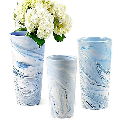 Twos Company Terre Melee Set Of 3 Ceramic Blue Tapered Vases Evine