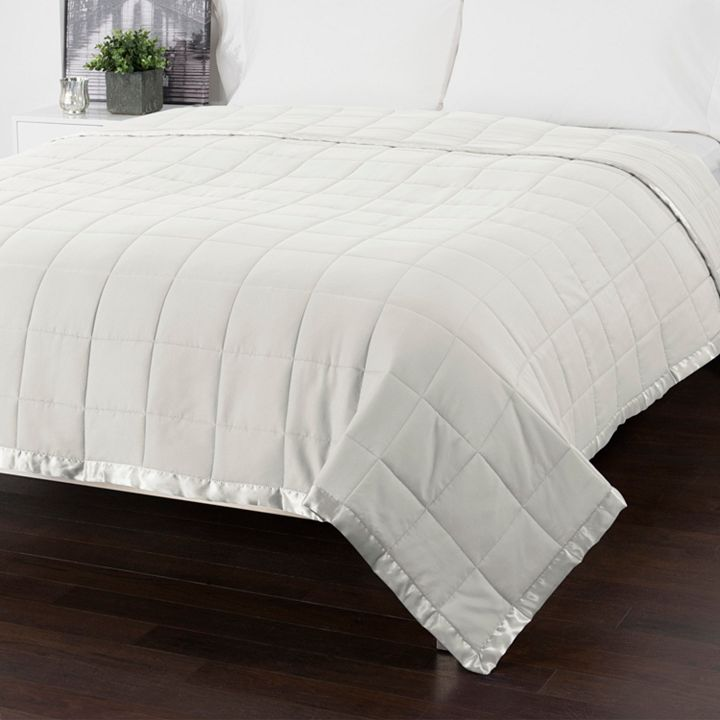 White Sale Featuring Cozelle at ShopHQ 471-430 Cozelle® Down Alternative Satin Trimmed Quilted Blanket