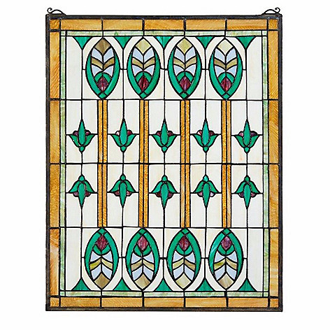 473 051 Design Toscano 25 Stained Gl Elmslie Arts Crafts Window Panel