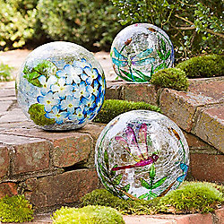 Wind & Weather Set of 3 Outdoor Battery-Operated Lighted Crackle Glass Balls - 473-363