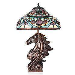 "Tiffany-Style 24.25"" Ranchero Stained Glass Table Lamp w/ Horse Statue Base"