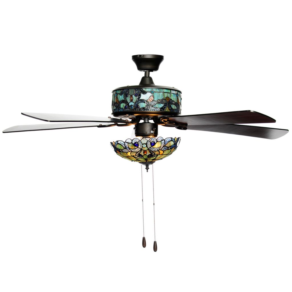 stained glass ceiling fan. 473-545- Tiffany-Style 52\ Stained Glass Ceiling Fan