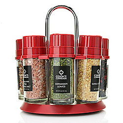 473-633 Cook's Companion® Set of 8 Glass Spice Grinders w Assorted Spices & Rotating Carousel - 473-633