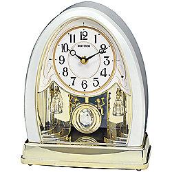 474-137 Rhythm Joyful Crystal Pearl Musical Motion Mantel Clock - 474-137