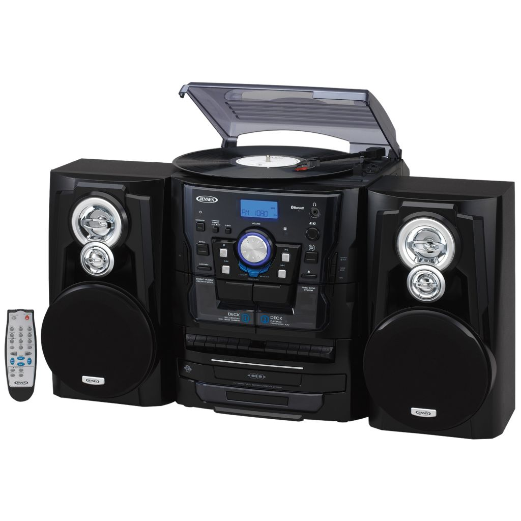 474 250  Jensen 3 Speed Turntable Bluetooth Stereo Music System W/ CD