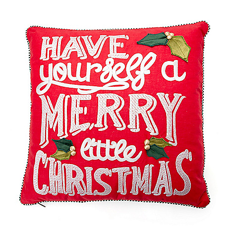 """474-365- MacKenzie-Childs 20"""" Hand-Stitched & Hand-Embroidered Merry Little Christmas Pillow"""