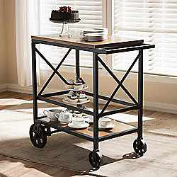 "Baxton Studio Chester 33.5"" Rustic Oak Brown-Finished & Metal Serving Cart"
