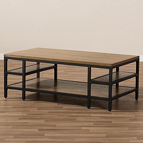 Fantastic Baxton Studio Caribou Rustic Oak Finished Black Metal Coffee Table Machost Co Dining Chair Design Ideas Machostcouk