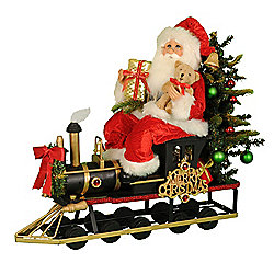 "Karen Didion Originals Merry Christmas Train Santa 19"" Collectible"